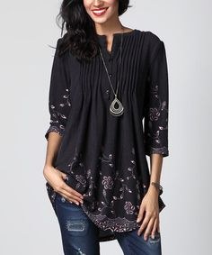 Look what I found on #zulily! Charcoal Floral Notch Neck Pin Tuck Tunic #zulilyfinds