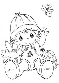 Precious Moments ~ toddler with turtle (has frog on overalls) Free Digi
