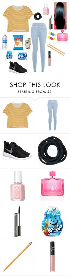 """Been super busy with school"" by ahriraine ❤ liked on Polyvore featuring Monki, New Look, NIKE, Essie, Victoria's Secret PINK, MAC Cosmetics, Paper Mate and NARS Cosmetics"