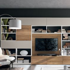 it's time to choose a new wall unit for your living room. Built In Wall Units, Modern Tv Wall Units, Living Room Wall Units, Living Room Modern, Muebles Living, Entertainment Wall, Small Space Storage, Family Room, House Design