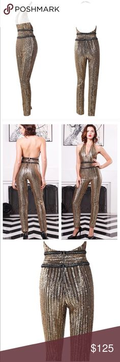 Gold sequin chain halter jumpsuit Ideal for birthdays, parties and special occasions. Zara Pants Jumpsuits & Rompers