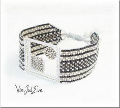 bracelet Loom trous gris noir argent 1