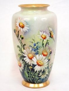 - Hand painted porcelain vase, daisies and corn flowers o : Lot 139 China Painting, Ceramic Painting, Ceramic Art, Ceramic Bowls, Fine Porcelain, Porcelain Ceramics, Painted Porcelain, Porcelain Tiles, Flower Vases