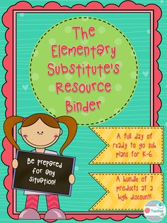 This Sub Plans Bundle for the Substitute Teacher includes a FULL day of sub plans for grades K- 6th! The students will be actively engaged in learning activities aligned to the core. This also includes forms for you to fill out with your sub information, both for your reference and to give to teachers you would like to sub for. It also includes a reusable calendar for you to keep track of all of your sub days. For less than a half day of subbing, you can never be left without enough plans…