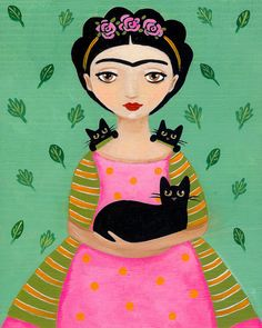 Frida and Black Cats Cat Folk Art Print 8x10 by KilkennyCatArt