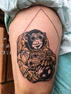 Space monkey tattoo done by Mana at Okinawa ink in Okinawa Japan