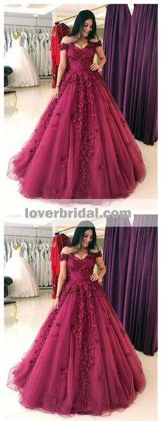 Lace Off Shoulder Dark Red A-line Long Evening Prom Dresses, 17613
