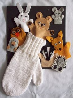 The Mitten finger puppets LP2 also for comprehension, predicting, and labeling characters