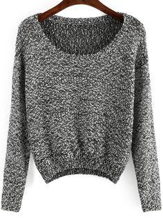 Black Long Sleeve Sequined Crop Sweater -SheIn(Sheinside)