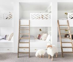 A lovely room for six http://petitandsmall.com/beautiful-white-kids-rooms/ #kidsroom #kidsroomdecor