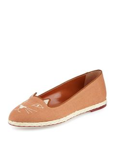 Capri+Cats+Linen+Espadrille+Flat,+Earthy+Brown+by+Charlotte+Olympia+at+Bergdorf+Goodman.