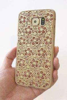 Rare Custom Handmade piece phone accessories fashion forward trendy case for 2015 2016 For Samsung Galaxy S6 Vintage Antique Floral Gold Wood cork smartphone case cover faceplate DIY hand painted  by Yunikuna