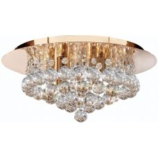 Hanna Gold Finish 4 Light Flush Crystal Ceiling Light
