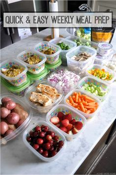 Quick and easy weekly meal prep for healthy meals throughout the week