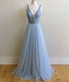 2017 New Arrival blue v neck sequin tulle long prom dress, blue evening dress