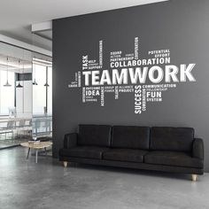 Decorate your office space with this teamwork motivational wall decal. The decal is suitable for any flat surface like walls, glass, furniture etc. It is perfect to add a touch of colour on those blank walls in the waiting room, office, conference and mee Office Wall Graphics, Office Wall Decals, Office Walls, Wall Sticker, Office Wall Design, Office Interior Design, Office Interiors, Office Wall Colors, Small Office Design