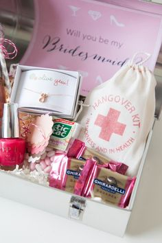 Will You Be My Bridesmaid? Lunch Box gift idea with a Hangover Kit bag from @becollective