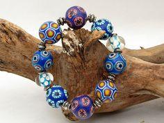 Sailor bracelet from polymerclay beads handmade from polymerdesign, Fimo, Greiz, Perlen Millefiori, ceramica polimerica, arcilla Matrose  handgefertigtes Armband aus Polymer Clay von polymerdesign, $34.00