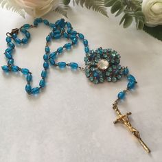 Vintage Rosary Necklace   Blue Necklace   Czech by VintageRedo