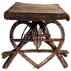 View this item and discover similar for sale at - Folky heart shaped side table from a cabin in the mid west.This side table is rustic yet durable and sturdy.Great to put with a twig setee or old hickory Old Hickory Furniture, Twig Furniture, Adirondack Furniture, Furniture Making, Twig Art, Rustic Table, Western Decor, Discount Furniture, Barn Wood