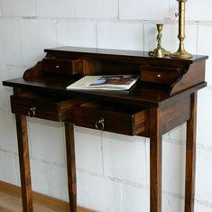 Massivholz Sekretär Schreibtisch mit 4 Schubladen - Holz massiv kolonial