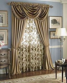 Hilton Window Curtain Waterfall Fringed Valance Treatments Available In Many Colors Antique Gold VALANCESWindow CurtainsFrench CurtainsDining Room