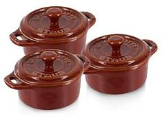 Shop for Staub Rustic Round Mini 4 Cocotte, Set of 3 at ShopStyle. Staub Cookware, Cast Iron Cookware, Kitchen Dining, Stoneware, Rustic, Ceramics, Dishes, Baking, Mini