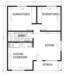 Vivienda 2 dormitorios con y sin galería - Viviendas Tríade Bungalow House Design, Small House Design, 2 Bedroom House Plans, Small House Floor Plans, House Of Beauty, Tiny House Cabin, Container House Design, Apartment Plans, Facade House