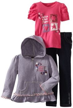 Calvin Klein Girls 2-6X Hoodie With Short Sleeve Tee And Jean