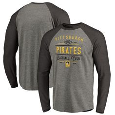 Pittsburgh Pirates Fanatics Branded Cooperstown Collection Doubleday Tri-Blend Raglan Long Sleeve T-Shirt - Ash