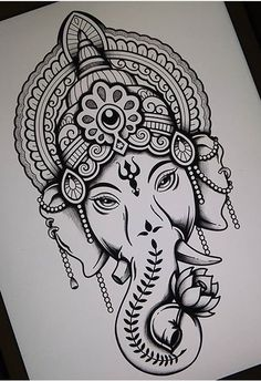 Lord Ganesha Lord Ganesha Kavipriyaram Ganesha tattoo This is lovely I d love to have the shirt buddha quote inspirational quotes words nbsp hellip Ganesha Sketch, Ganesha Drawing, Lord Ganesha Paintings, Ganesha Art, Ganpati Drawing, Buddha Drawing, Ganesh Tattoo, Hindu Tattoos, Buddha Tattoos