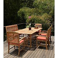 Extendable Teak Wood 6-Piece Dining Set With Cushions - Sam's Club