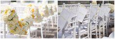 Ballantyne Hotel Wedding, Yellow and Cream/White wedding, Hydrangeas, White Chivari wedding chairs, Outdoor yellow spring wedding, www.carolinaweddingdesignblog.com