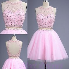 Pink Homecoming Dresses 2 pieces short Prom Dress With Backless Homecoming Gown…