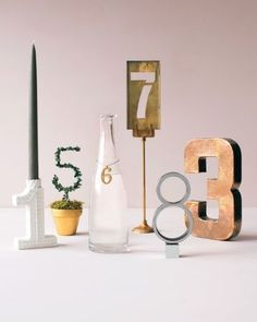 Unique Table Numbers - Martha Stewart Weddings Inspiration I love the style of Flower Centerpieces, Wedding Centerpieces, Wedding Decorations, Table Decorations, Centerpiece Ideas, Wedding Looks, Chic Wedding, Rustic Wedding, Wedding Shot