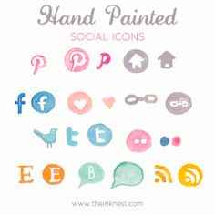 Loving the look of this hand painted social icon set! Hand painted social icons - for commercial and personal use.