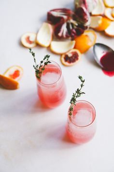 blood orange wine cocktails with campari + thyme   holly & flora