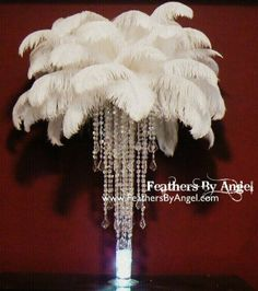 Ostrich feather and crystal centre piece