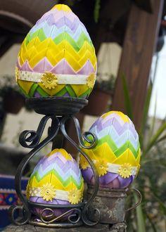 Quilted egg, styrofoam, patchwork, handmade, For sale