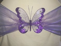 Wedding Party Decoration Clip-on Butterfly Large Glitter Chair Sash Decoration in Home, Furniture & DIY, Wedding Supplies, Other Wedding Supplies Fiesta Baby Shower, Baby Shower Purple, Purple Wedding, Diy Wedding, Dream Wedding, Butterfly Party Decorations, Wedding Decorations, Butterfly Wedding, Purple Butterfly