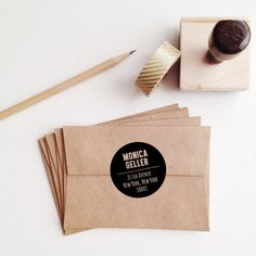 Black Dot Wooden Address Stamp