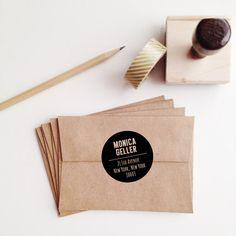 Black Dot Wooden Address Stamp