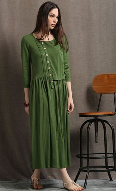 Linen Maxi Dress, Moss Green Asymmetrical Semi-Fitted Casual Comfortable Women's Dress, Plus size Pleated shirt dress with pockets Women's Dresses, Linen Dresses, Plus Size Dresses, Vestidos Plus Size Verde, Modele Hijab, Pleated Shirt, Oversized Dress, Maxi Robes, Corsage
