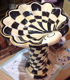Like MacKenzie Childs, Hand-Painted Bird Bath on Etsy, $400.00