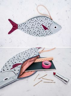 Thanks to Don Fisher, a Spain-based online shop that creates fish accessories, you can now carry around a fish wherever you go while making a fashion statement Fabric Bags, Felt Fabric, Don Fisher, Kurti Embroidery Design, Indian Embroidery, Sewing Crafts, Sewing Projects, Fabric Fish, Felt Fish