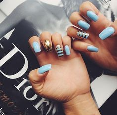 #Dior #nails #blue #gold