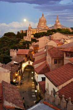 Poble Espanyol, an open-air museum in Barcelona, replicating architecture in various cities around Spain.