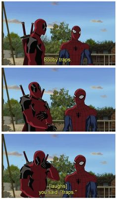 Funny pictures about Deadpool. Oh, and cool pics about Deadpool. Also, Deadpool. Dc Memes, Marvel Memes, Marvel Dc Comics, Marvel Avengers, Deadpool Y Spiderman, Batman Y Superman, Deadpool Funny, Ultimate Spider Man Deadpool, Female Spiderman