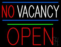 No Vacancy Block Red Open Green Line Neon Sign 24 Tall x 31 Wide x 3 Deep, is 100% Handcrafted with Real Glass Tube Neon Sign. !!! Made in USA !!!  Colors on the sign are Blue, Red, White and Green. No Vacancy Block Red Open Green Line Neon Sign is high impact, eye catching, real glass tube neon sign. This characteristic glow can attract customers like nothing else, virtually burning your identity into the minds of potential and future customers.