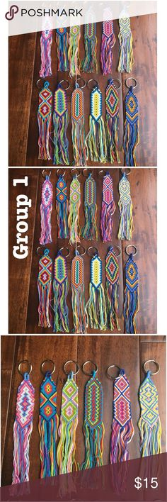 """TOH Boho Woven Flat Keychains (How 2 order below) How to order:  1.  LMK your item/color combo 2. Pricing: 2 keychains = $15       1 bracelet + 1 keychain = $12  *Keychains are approx 8"""" long  *Woven threads by hand   Ask ALL questions before buying, sales are final. I try to describe the items I sell as accurately as I can but if I missed something, please LMK FIRST so we can resolve it before you leave < 5rating.   TRADES/OFFLINE TRANSACTIONS LOWBALLING ✅Use OFFER BUTTON please   &  Free…"""